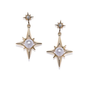 Gold-Toned Star Shaped Drop Earrings