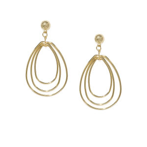 Gold-Toned Teardrop Shaped Drop Earrings