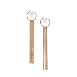 Gold-Toned Spherical Drop Earrings