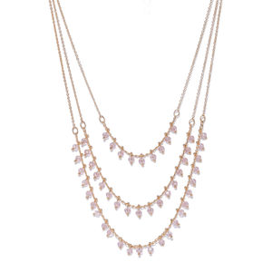 Gold-Toned & Pink Beaded Layered Necklace