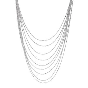 Silver-Toned Multi-Layered Chain Necklace