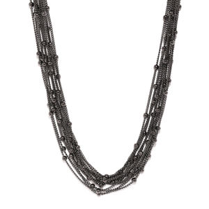 Black Multi-Layered Chain Necklace