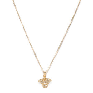 Gold-Toned Butterfly-Shaped Pendant With Chain