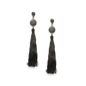 Black Satin Tassel Drop Earrings