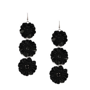 Black Floral Drop Earring For Women