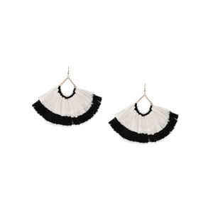 White & Black Thread Tassel Drop Earring For Women