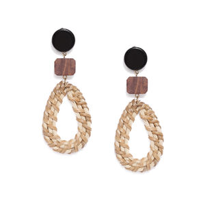 Beige Knit Drop Earrings