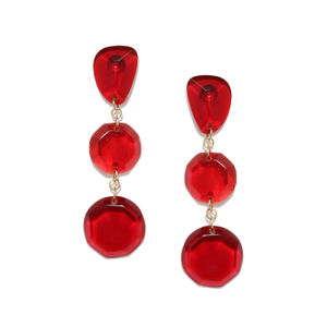 Maroon Beaded Drop Earrings