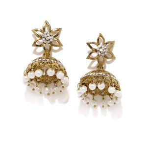 Antique Gold-Toned & White Floral Jhumkas
