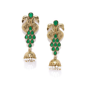 Antique Gold-Toned & Green Contemporary Jhumkas