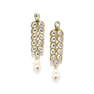 Antique Gold-Toned & White Contemporary Kundan Drop Earrings