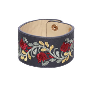 Charcoal Grey Embroidered Wraparound Bracelet