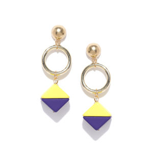 Gold-Toned & Yellow Geometric Drop Earrings