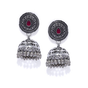 Silver-Toned & Pink Dome Shaped Jhumkas