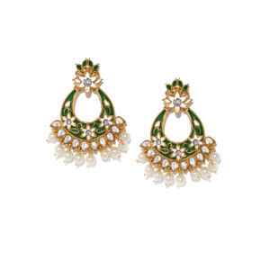 Gold Tone & Green Floral Contemporary Earring For Women