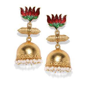 Gold-Toned & Red Precious Padma Classic Jhumkas