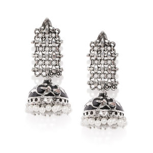 Oxidised Silver-Toned & Black Jhumki Earring For Women
