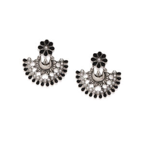 Silver-Toned & Black Contemporary Oxidised Drop Earrings