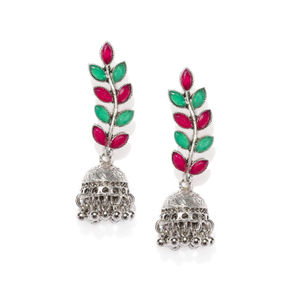 Silver-Toned & Red Dome Shaped Jhumkas