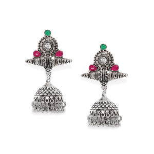 Silver-Toned & Pink Dome-Shaped Jhumkas