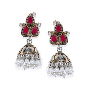 Gold-Toned & Pink Dome Shaped Jhumkas