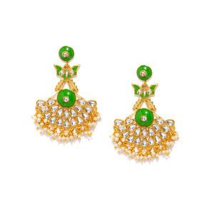 Green & Gold-Toned Classic Drop Earrings