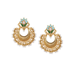 Gold-Toned Crescent Shaped Chandbalis