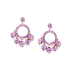 Purple Circular Drop Earring For Women