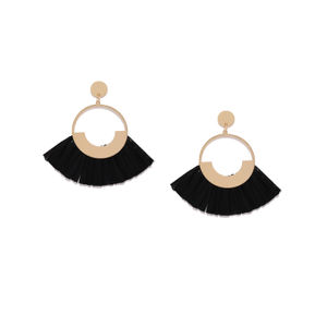 Black Contemporary Tassel Drop For Women