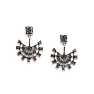 Silver Tone Contemporary Oxidised Drop Earring For Women