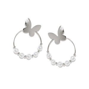 Silver Tone White Circular Drop Earring For Women