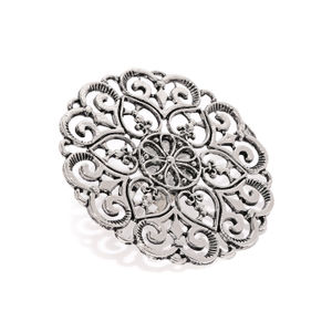 Women Oxidised Silver-Toned Floral Fligree Finger Ring