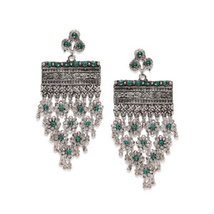 Silver-Toned & Green Geometric Oxidised Drop Earrings