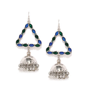 Silver-Toned & Blue Triangular Jhumkas