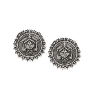 Silver-Toned Oxidised Circular Oversized Studs