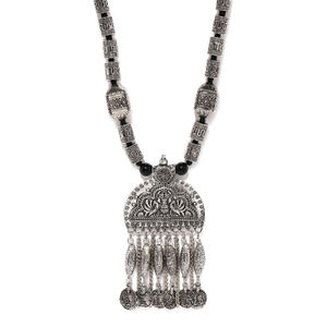 Oxidised Silver-Toned Tribal Necklace For Women