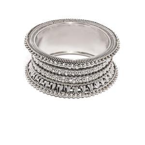 Silver Floral Fortune Embellished Kada