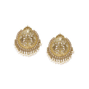 Gold Tone White Pearl Drop Earrings For Women