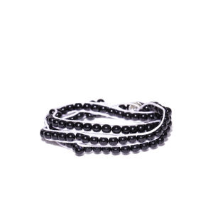 Men Black & White Beaded Wrap-Around Bracelet
