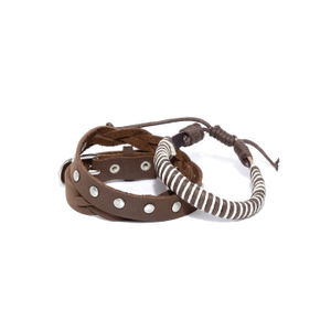 Men Set Of 2 Brown Punk Bracelets
