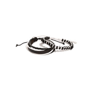 Men Set Of 2 Black & White Bracelets
