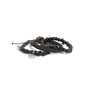 Men Set Of 3 Black Bracelets