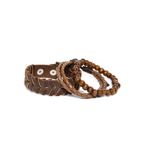 Men Set Of 3 Brown Bracelets