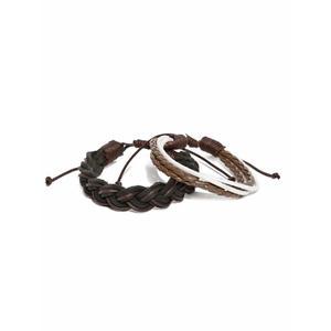 Men Set Of 2 Brown Braided Bracelets