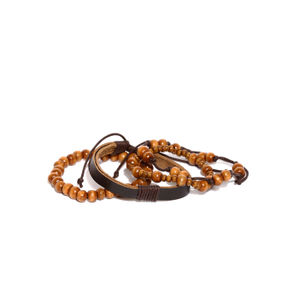 Men Set Of 4 Brown Beaded Bracelets