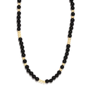 Men Black Beaded Necklace