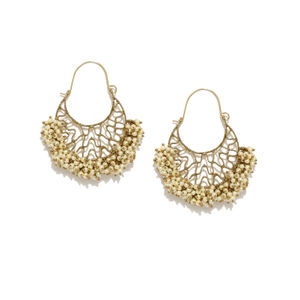 Gold-Toned & Off-White Chandbalis