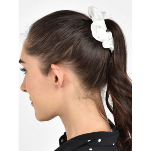 Toniq Set Of 2 Black and White Pearl Embellished Classy Hair Scrunchie Rubberband
