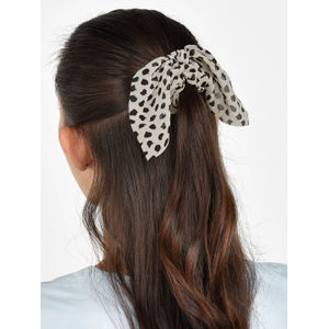 Toniq Set Of 2 Dalmatian Black and White Hair Scrunchie Rubberband For Women