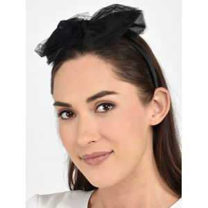 Toniq Chic Black Tulle Mesh Bow Hair Band For Women